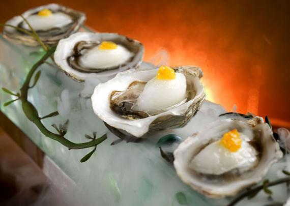 Kushi Oysters with margarita sorbet and orange purée