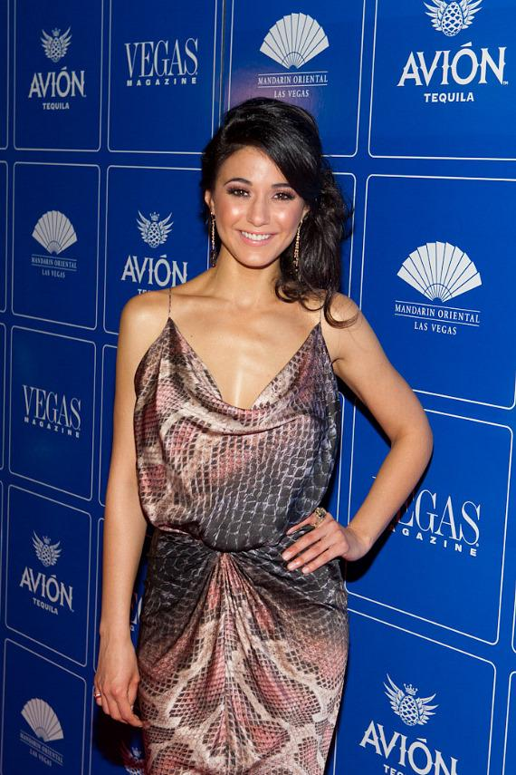Vegas Magazine cover star Emmanuelle Chriqui at The Mandarin Oriental Hotel's Mandarin Bar