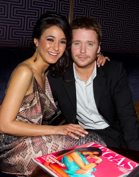 Emmanuelle Chriqui with Entourage co-star Kevin Connolly