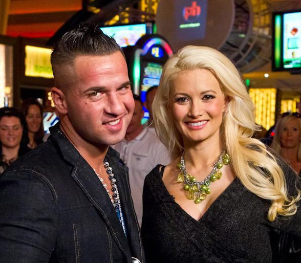 Holly Madison with Mike 'The Situation' Sorrentino at Planet Hollywood