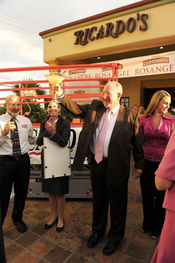 """Congresswoman Shelley Berkley (3rd from the left), owner of Ricardo's Mexican Restaurant, Bob Ansara, Rosangel Tequila Marketing Manager, Scott Schiller, Mayor Oscar B. Goodman, Sara Ansara, Guinness Official and The Rat Pack Is Back attend the Guinness World Record Ceremony for the World's Largest Margarita"""" at Ricardo's Mexican Restaurant on October 15, 2010."""