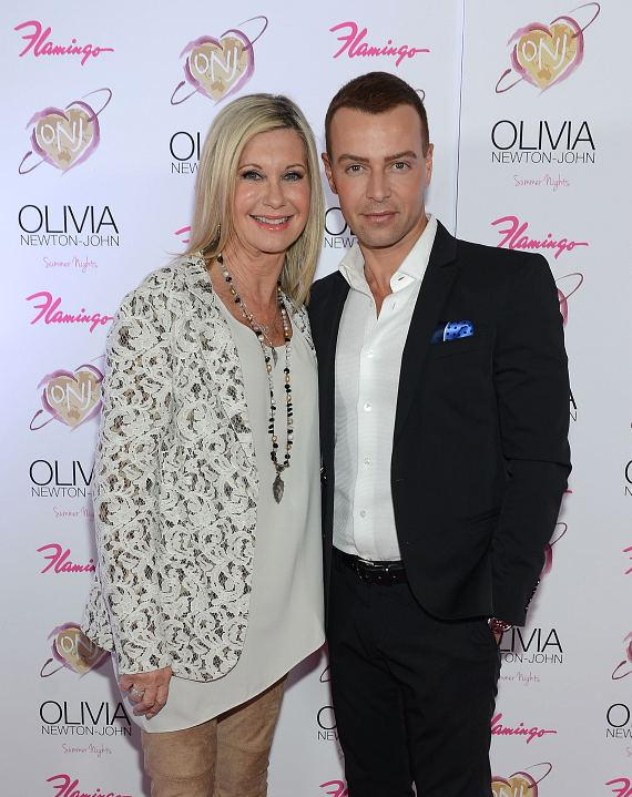 """Olivia Newton-John and Joey Lawrence at opening of """"Summer Nights"""" at The Flamingo in Las Vegas"""