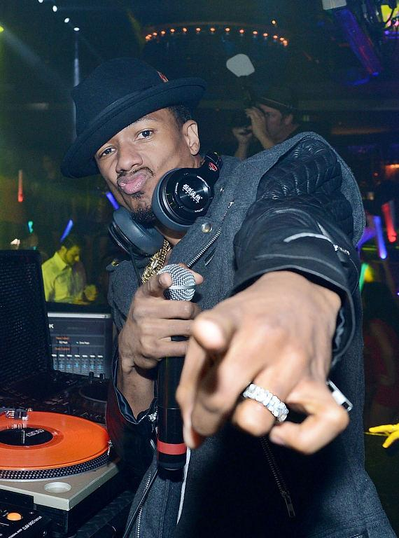 Robin Thicke and Nick Cannon at 1 OAK Nightclub at The Mirage in Las Vegas