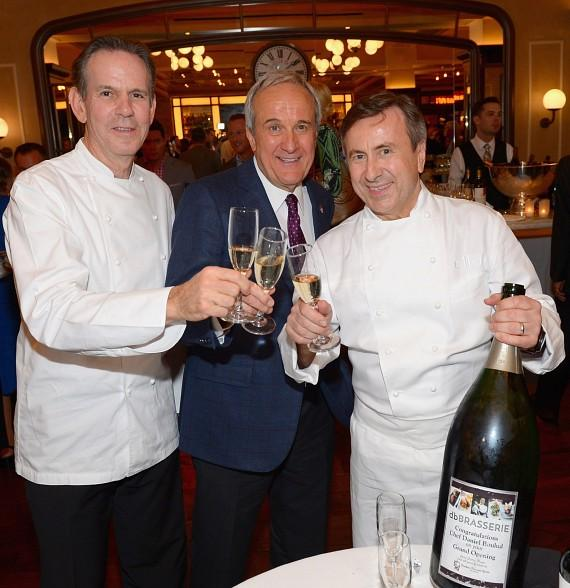Chef Thomas Keller, Larry Ruvo and Daniel Boulud toast from the celebratory bottle of champagne from Southern Wine and Spirits-570