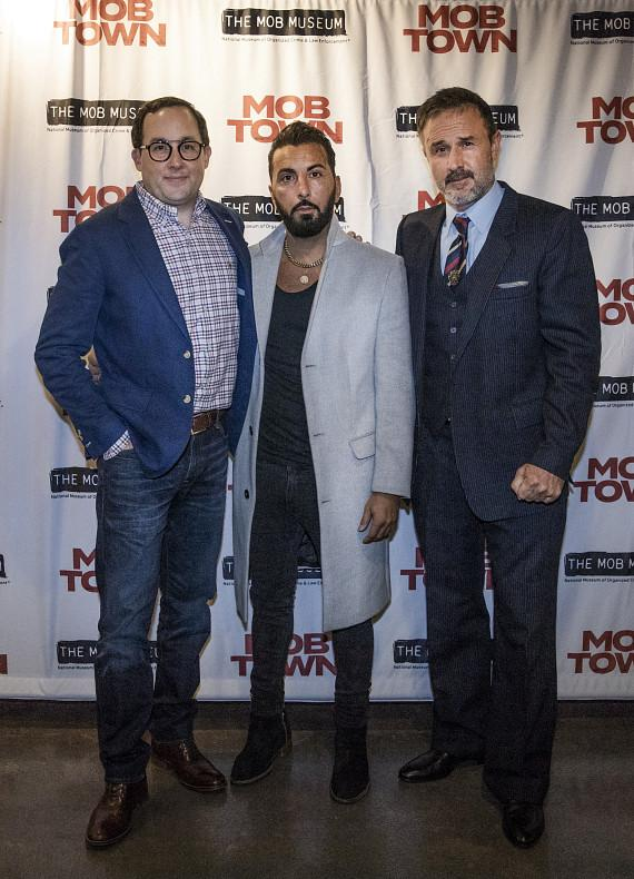 "P.J. Byrne, Danny A. Abeckaser and David Arquette at the ""Mob Town"" Premiere at The Mob Museum"