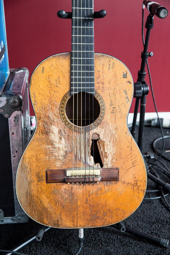 """Willie Nelson's famous Martin N-20 guitar. Willie named this guitar """"Trigger""""."""