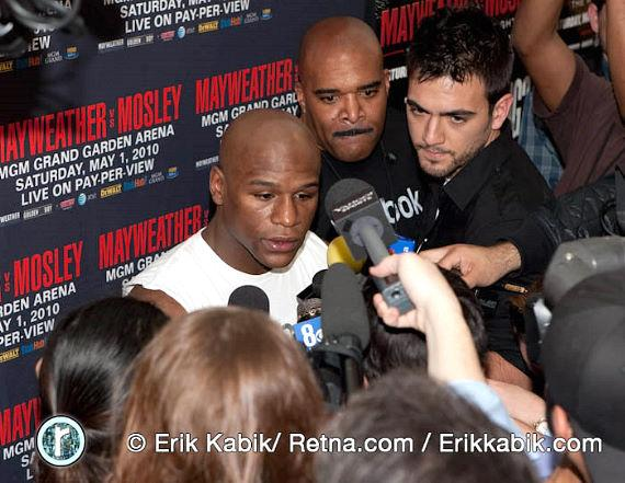 Floyd Mayweather Jr. talks to the media