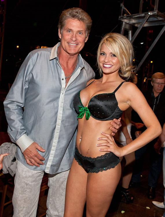 David Hasselhoff and Angel Porrino backstage at Absinthe