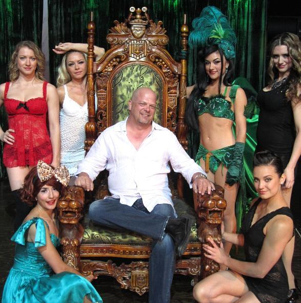 Pawn Stars' Rick Harrison with the ladies of ABSINTHE at Caesars Palace in Las Vegas