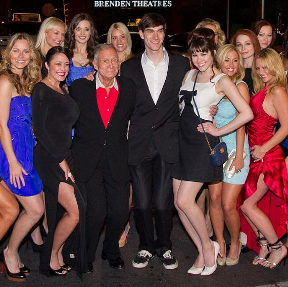 Hugh Hefner, son Marston, Claire Sinclair and Playmates