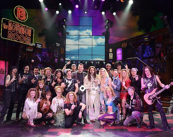 Vice President of food and beverage at the Venetian/Palazzo Sebastian Silvestri, ROCK OF AGES guest star Joey Fatone and cast members of ROCK OF AGES during the key presentation to Bourbon Room at The Venetian Las Vegas on February 27, 2015