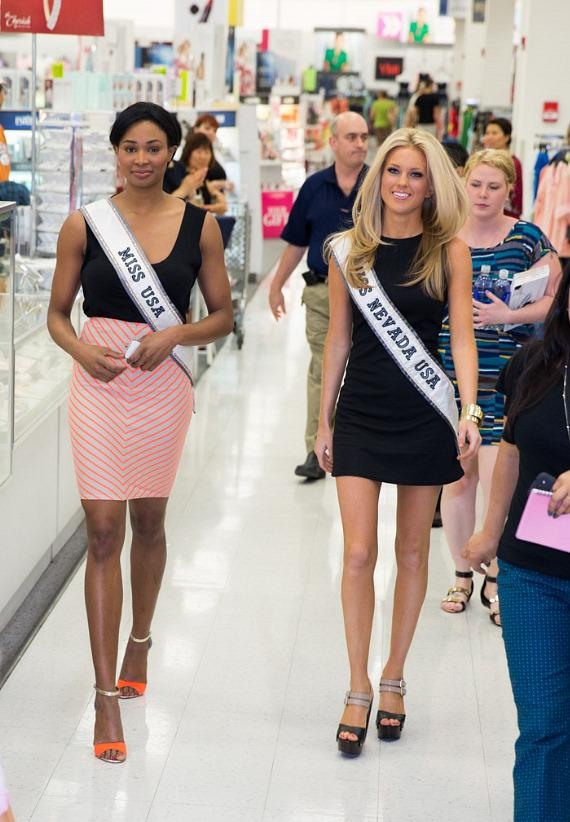 Miss USA 2013 Nana Meriwether and Miss Nevada USA 2013 Chelsea Caswell arrive at Nellis Air Force Base