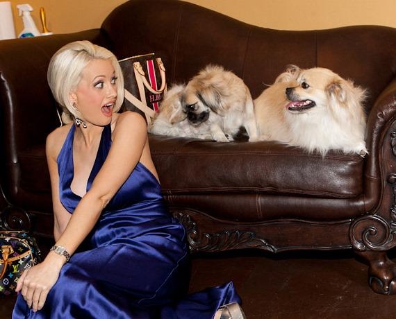 Holly Madison and her dogs in photo shoot for The Vegas Dog magazine