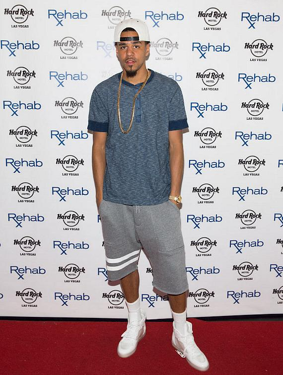 J Cole arrives at REHAB at Hard Rock Hotel & Casino in Las Vegas