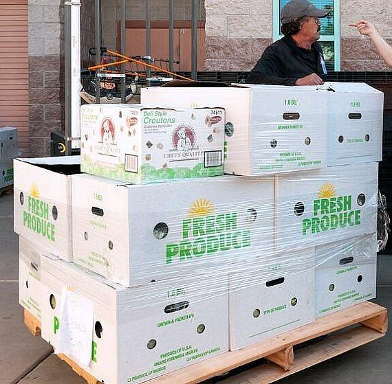 Cases of fresh Evercress produce ready for delivery