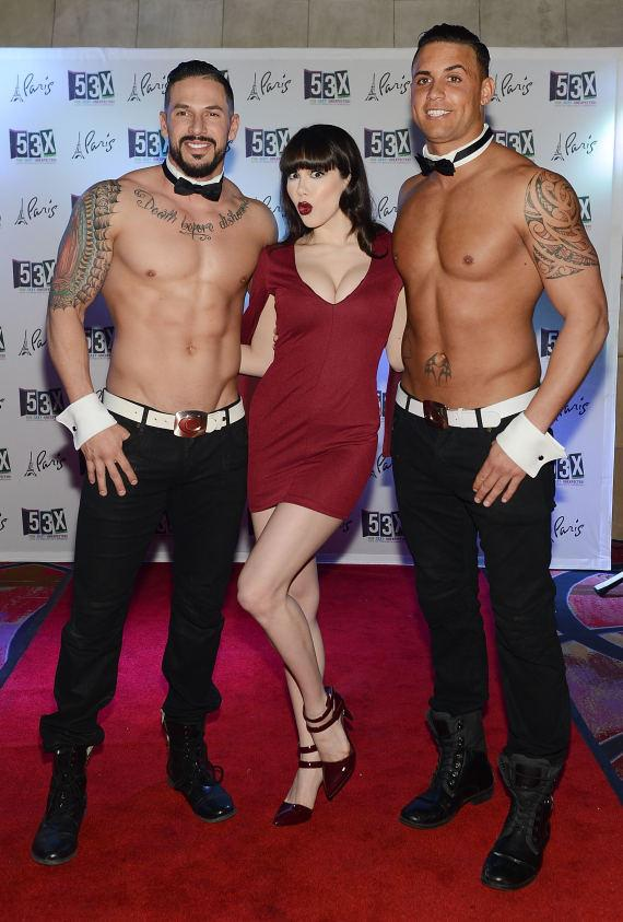 PinUp star Claire Sinclair with dancers from Chippendales