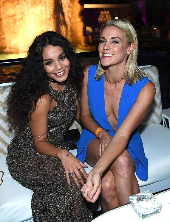 Vanessa Hudges and Laura New attend the grand opening of Intrigue nightclub at Wynn Las Vegas on April 29, 2016