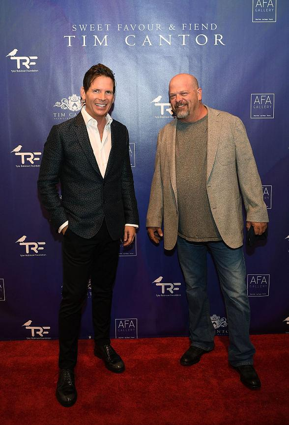 """Imagine Dragons and """"Pawn Stars"""" Rick Harrison attend Artist Tim Cantor's Las Vegas Art Exhibit at AFA Gallery"""
