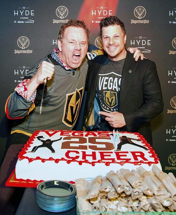 In-Arena Announcer Mark Shunock and Vegas Golden Knights Players, Deryk Engelland and William Karlsson, Spotted Inside Hyde Lounge at T-Mobile Arena in Las Vegas
