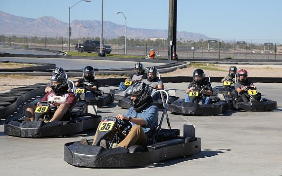 Racing action at Mike Hammer's Celebrity Go-Kart Race