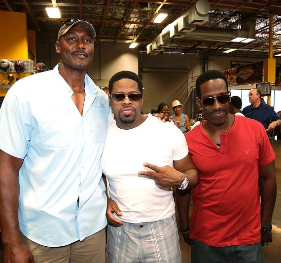 """NBA Hall of Famer Karl """"The Mailman"""" Malone with Nathan Morris and Shawn Stockman at Pole Position in Las Vegas"""