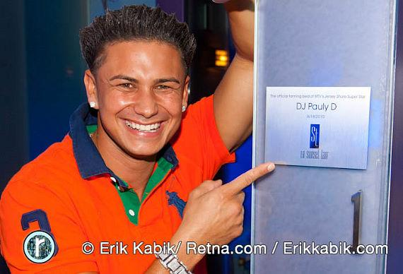 Jersey Shore's DJ Pauly D is honored with a tanning bed dedication at Sunset Tan