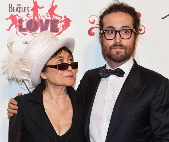 Yoko Ono joined by her son Sean Lennon, who bears a striking resemblance to his father, at The Beatles Love by Cirque Du Soleil 5 year anniversary event at The Mirage.