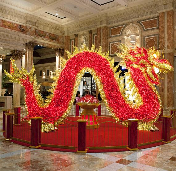 Illuminated Chinese Dragon Display at The Forum Shops at Caesars Palace