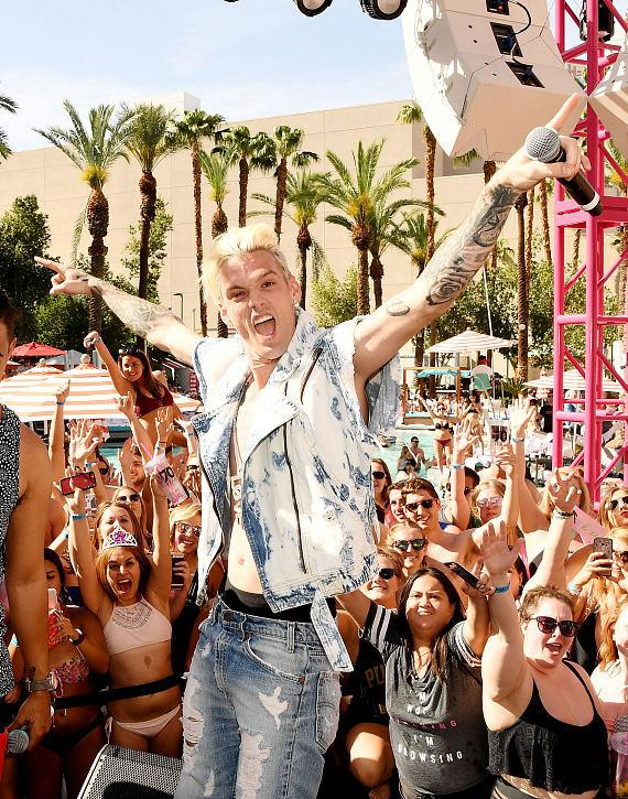 Recording Artist Aaron Carter Performs at Flamingo Go Pool in Las Vegas