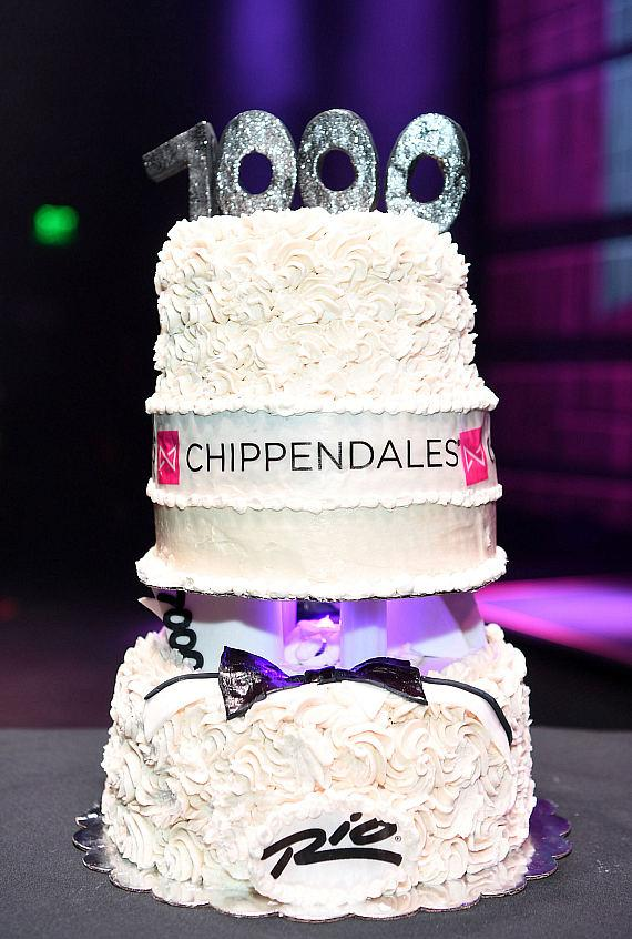 Cake celebrating 7000 Chippendales shows