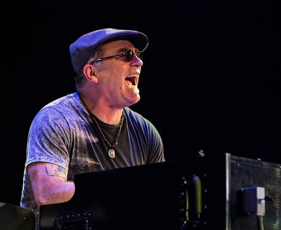 Carlos Santana keyboard player performs in Columbia, Maryland