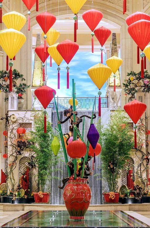 88 gold and red six-foot lanterns hang in the Waterfall Atrium for The Palazzo Chinese New Year display