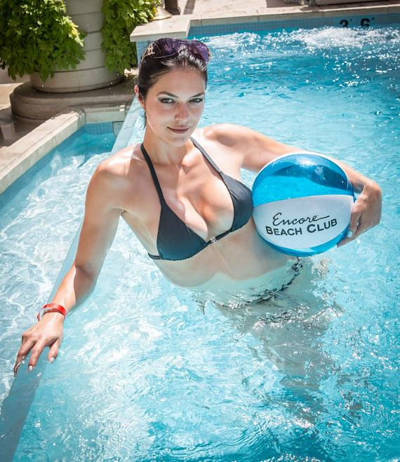 Adrianne Curry in pool at Encore Beach Club