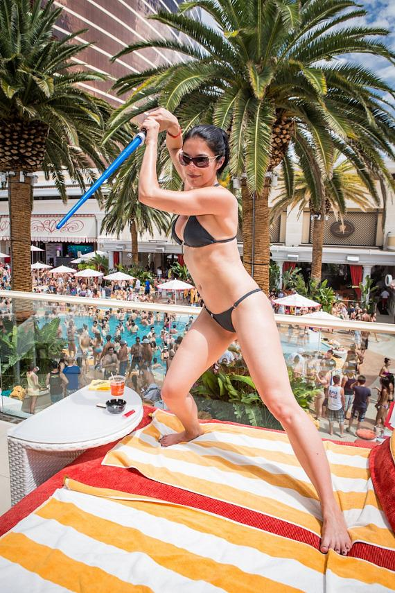 Adrianne Curry with Star Wars birthday cake at Encore Beach Club