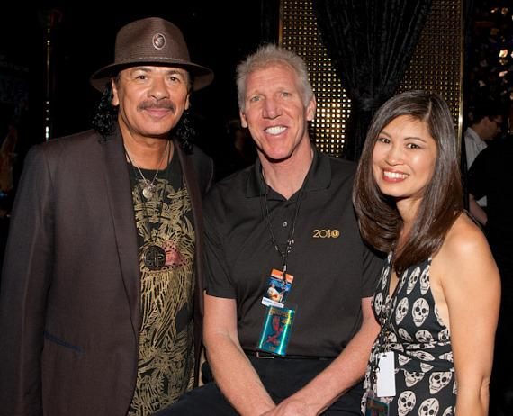 Carlos Santana, Bill Walton and wife Lori