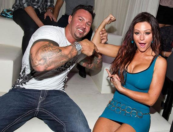 Jersey Store Star Jennifer 'Jwoww' Farley and her boyfriend Roger partied at PURE Nightclub at Caesras Palace and she showed off her new fit figure and muscles