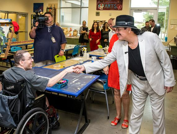 Carlos Santana and Hermes Music Donate Instruments to Opportunity Village's Fine and Performing Arts Program