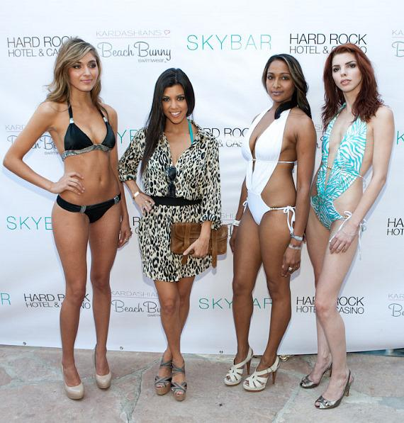 Kourtney Kardashian arrives at HRH Beach Club with swimsuit models