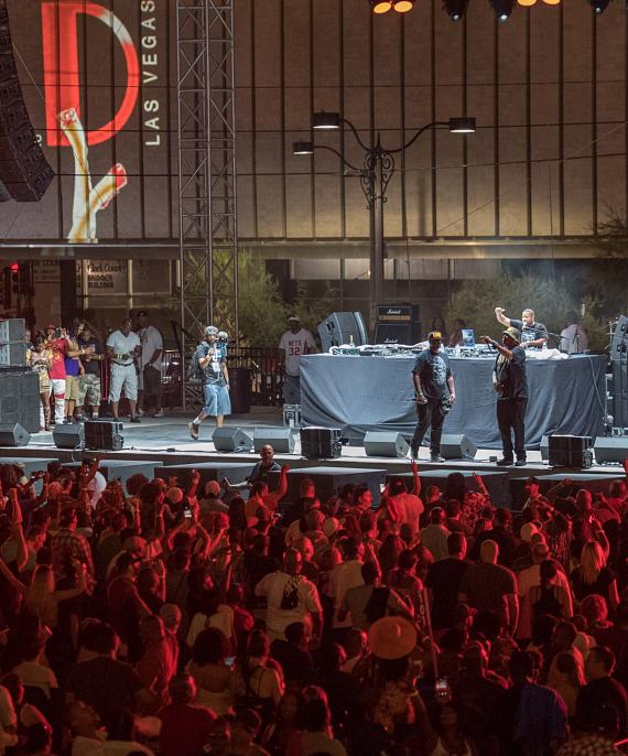 A packed crowd enjoys EPMD at the Art of Rap Tour