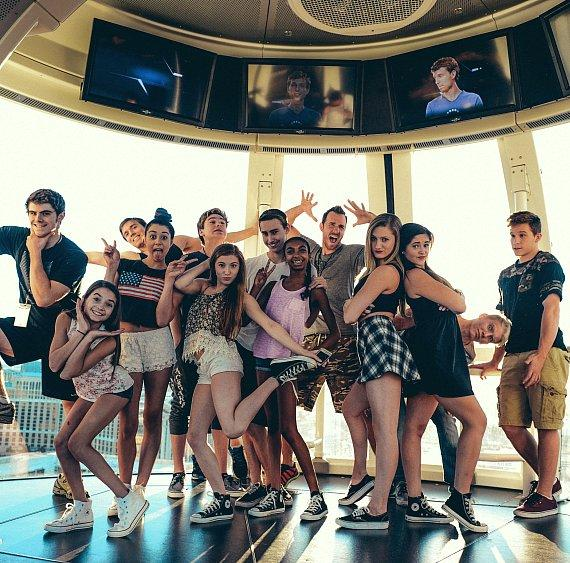 Members of the acrobat group AcroArmy pose on the Las Vegas High Roller