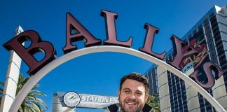 Adam Richman in front of Bally's Las Vegas, home of the WFC barbeque category competition that takes place Friday and Saturday, Nov. 2-3