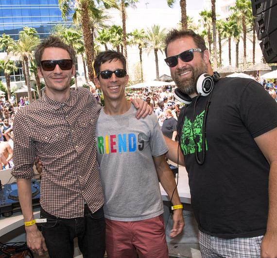 Alex Metric, Jacques Lu Cont and Claude Von Stroke hang out at HARD Events at REHAB in Hard Rock Hotel & Casino