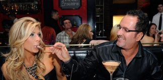 """""""Real Housewives of Orange County"""" star Alexis Bellino, along with husband Jim Bellino, dine at Sugar Factory American Brasserie at Paris Las Vegas"""