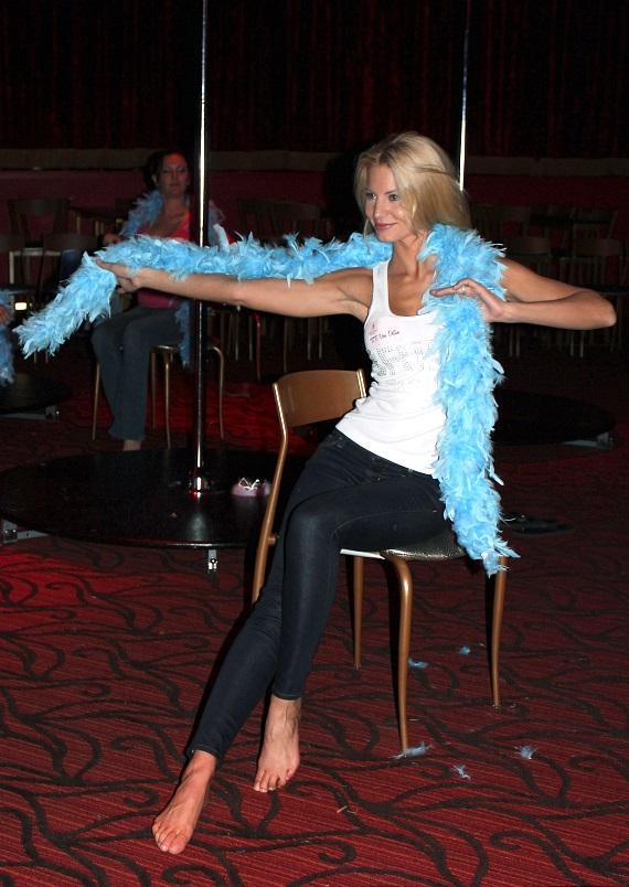 Angela Marcello with a blue boa at Night School 4 Girls at Excalibur Hotel & Casino