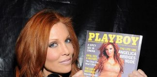 Angelica Bridges with magazine at Rock 'n' Roll Las Vegas Marathon