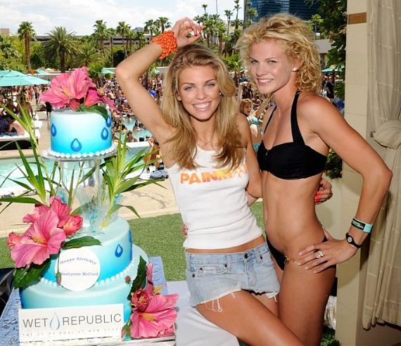 AnnaLynne and Angel McCord with Birthday Cake at WET REPUBLIC
