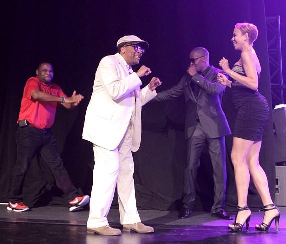 Anthony Anderson, Spike Lee, Jamie Foxx and Tayna Lewis Lee on stage at MJCI Celebration in Las Vegas