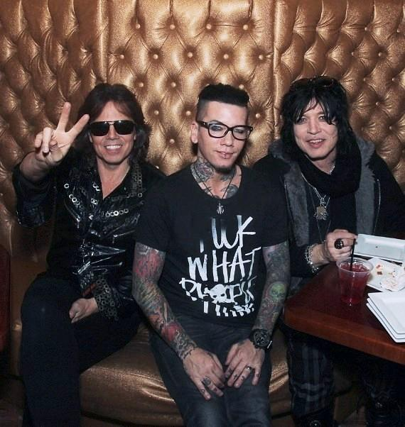 Joey Tempest and John Norum of Europe with Guns N Roses guitarist Dj Ashba in Vince's private Gold Room