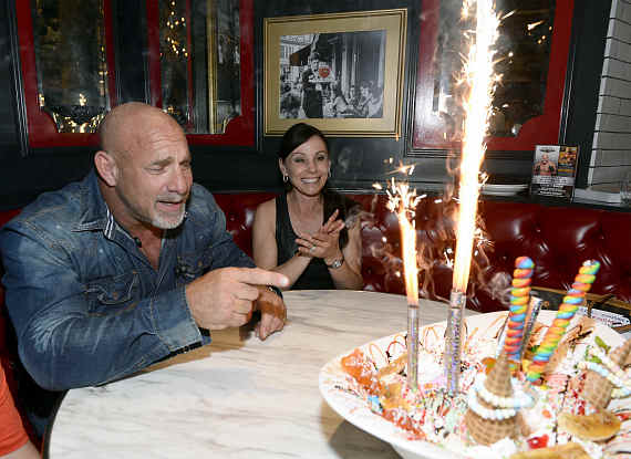 Bill Goldberg with his wife, Wanda Ferraton at Sugar Factory Las Vegas