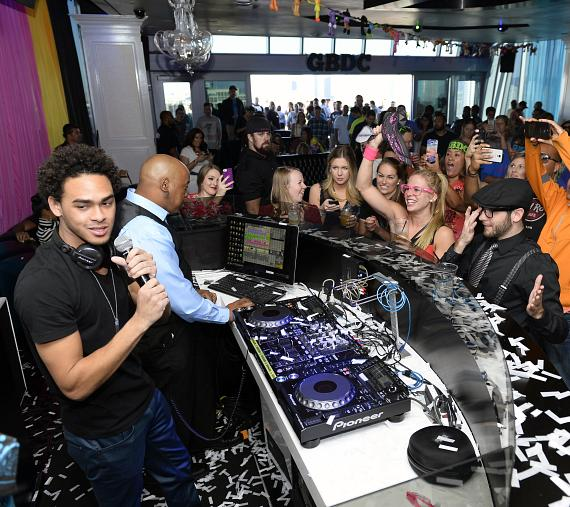 Trey 'DJ AcE' Smith performs during his birthday celebration at Ghostbar Dayclub at the Palms Casino Resort